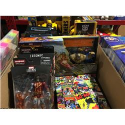 BOX OF ASSORTED MARVEL & TRANSFORMER ACTION FIGURES & PUZZLE