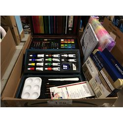 BOX OF ASSORTED ARTS & CRAFTS - PAINTING KITS, WAX CRAYONS, PENCIL CRAYONS ETC.