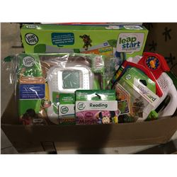 BOX OF ASSORTED LEAP FROG CHILD'S LEARNING TOYS & GAMES