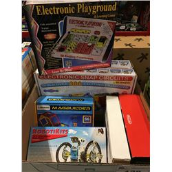 BOX OF ASSORTED ELECTRONIC LEARNING TOYS - SNAP CIRCUIT/ELECTRONIC PLAYGROUND/MAGNETIC