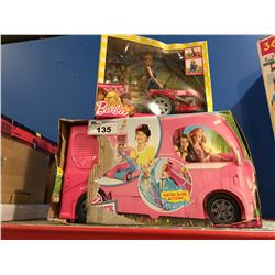 2 BARBIE TOYS - POP UP CAMPER & FARMER & TRACTOR