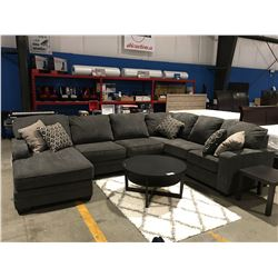 3 PCS GREY UPHOLSTERED SECTIONAL SOFA WITH 5 THROW CUSHIONS