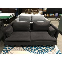 CHARCOAL GREY MICRO FIBER UPHOLSTERED CONTEMPORARY SOFA
