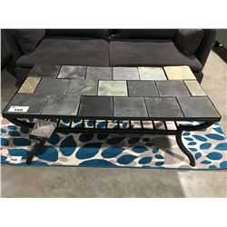 STONE TILE TOP COFFEE TABLE