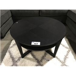 ROUND CONTEMPORARY COFFEE TABLE & SQUARE END TABLE