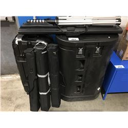 GROUP OF CONVENTION / TRADE SHOW PRESENTATION EQUIPMENT COMPLETE WITH 2 HARD SHELL TRAVEL CASES