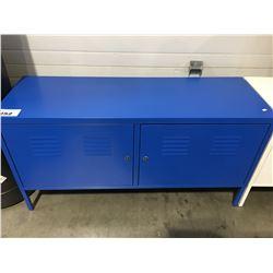 BLUE METAL 2 DOOR OFFICE CABINET WITH KEY
