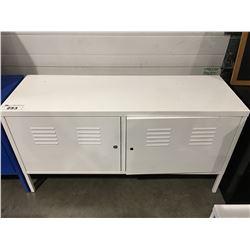 WHITE METAL 2 DOOR OFFICE CABINET (NO KEY)