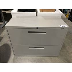 GLOBAL 2 DRAWER LATERAL FILING CABINET WITH KEY