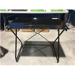 SMALL BLACK METAL GLASS TOP DESK