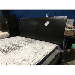 KING SIZED BLACK FINISH SLEIGH HEADBOARD WITH ATTACHED METAL BED FRAME