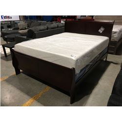 QUEEN SIZED CHERRY FINISH SLEIGH BED - HEADBOARD, FOOTBOARD & RAILS
