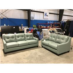 2 PCS SEAFOAM GREEN LEATHER UPHOLSTERED SOFA & LOVE SEAT SET