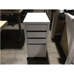 SMALL WHITE 4 DRAWER ROLLING OFFICE CABINET