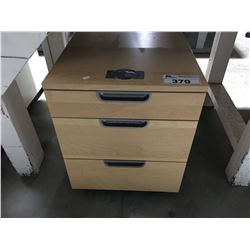 3 DRAWER ROLLING WOODEN SMALL OFFICE COMBINATION LOCK CABINET (NO COMBO BUT OPENED)