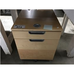 3 DRAWER ROLLING WOODEN SMALL OFFICE COMBINATION LOCK CABINET (NO COMBO BUT LOCKED)
