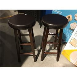PAIR OF WOODEN BAR STOOLS WITH BROWN LEATHER UPHOLSTERED SEATS
