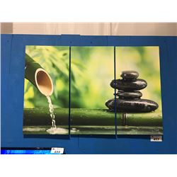 3 PANEL ART PRINT ON CANVAS DECORATIVE WALL HANGING - ZEN GARDEN, BAMBOO & ROCKS (ONE SCUFF ON 1