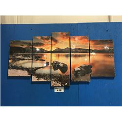 "5 PANEL ART PRINT ON CANVAS WALL HANGING TRANQUIL BEACH 40""X24"""