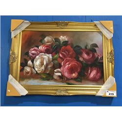 "FRAMED OIL ON CANVAS PAINTING ROSES 44""X32"""