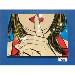"MODERN PRINT ON BOARD TITLED ""SSSHHH"" 28""X19 1/2"""