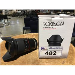 ROKINON 20MM F1.8 FULL FRAME WIDE ANGLE LENS