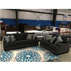 2 PCS CHARCOAL GREY UPHOLSTERED SOFA & LOVESEAT SET WITH 8 THROW CUSHIONS