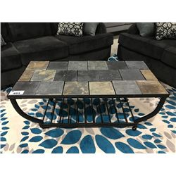 CONTEMPORARY STONE TILE TOP & METAL COFFEE TABLE