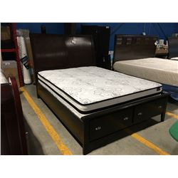 QUEEN SIZE MAHOGANY FINISH PLATFORM BED FEATURING 2 DRAWER FOOTBOARD STORAGE- HEADBOARD, FOOTBOARD