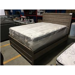QUEEN SIZE GREY FINISH PANEL BED, HEADBOARD, FOOTBOARD & RAILS