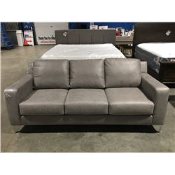 CONTEMPORARY GREY MICRO FIBER UPHOLSTERED 3 SEATER SOFA