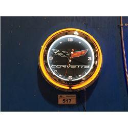 CORVETTE NEON LIGHTED WALL CLOCK