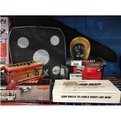 LARGE GROUP OF FIREARMS/HUNTERS EQUIPMENT - TARGETS, GUN CLEANING KIT, SHOOTERS EAR MUFFS,  RIFLE