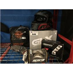 GROUP OF ASSORTED MOTOR CYCLE ACCESSORIES- HELMET/MILWAUKEE HEATED GEAR/ MIRRORS/ SPECIALTY