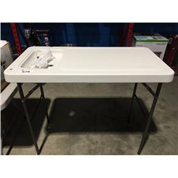 FOLDING PREP/CUTTING TABLE WITH SINK (CRACKED TOP)