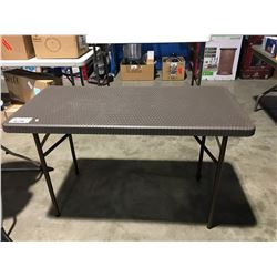 SMALL PLASTIC FOLDING TABLE 2'X4' BROWN