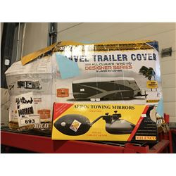 "TRAVEL TRAILER COVER FITS TRAILER 28'7"" -  31'6"" TRAILER & SET OF TOWING MIRRORS"