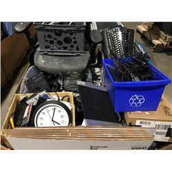 PALLET LOT OF ASSORTED OFFICE EQUIPMENT/SUPPLIES & MISCELLANEOUS ITEMS