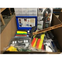 ONE BOX ASSORTED HAND TOOLS & ACCESSORIES