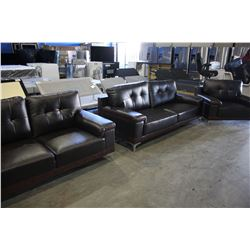 DUAL TONE BROWN SOFA, LOVESEAT AND ARMCHAIR SET