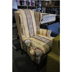 CREAM/GREEN/RED FLORAL HIGH BACK ARMCHAIR