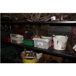 SHELF LOT OF AUTO PARTS, HARDWARE, TOOLS AND MORE