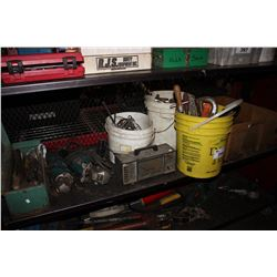 SHELF LOT OF ASSORTED TOOLS INCLUDING MAKITA SANDER/GRINDERS, ENGINE ANALYZER AND MORE