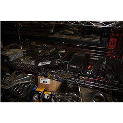 SHELF LOT OF CAR STEREO DECKS AND POWER AMPLIFIER