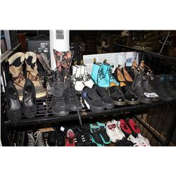 SHELF LOT OF SHOES - ASSORTED DOC MARTENS, KENDALL&KYLIE, PALLADIUM, CONVERSE, AND MORE
