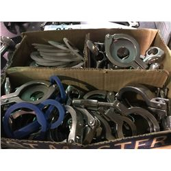 BOX OF STAINLESS STEEL BREWERY SYSTEM PIPE CLAMPS