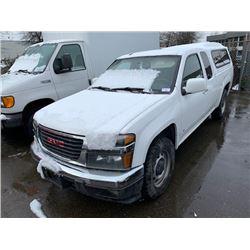 2009 GMC CANYON SLE, 2DR EXT PU, WHITE, VIN # 1GTCS199X98115301