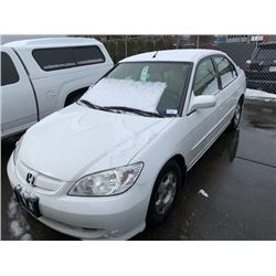 2004 HONDA CIVIC HYBRID, 4DR SEDAN, WHITE, VIN # JHMES96564S800012