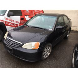 2003 HONDA CIVIC SPORT, 4DR SEDAN, BLACK, VIN # 2HGES15843H920171