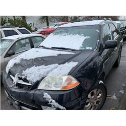 2003 ACURA MDX, BLACK, 4DRSW, GAS, AUTOMATIC, VIN#2HNYD18683H001848, TMU *NO KEYS, MUT TOW, NOT